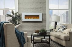 """Touchstone Ivory 50"""" Wide Wall Mounted Electric Fireplace"""
