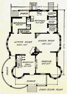 Victorian House Plans, Vintage House Plans, Victorian Homes, Vintage Homes, Simple Floor Plans, Small House Floor Plans, The Sims, Vintage Bathrooms, Cabin Plans