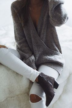 res denim white ripped jeans, isabel marant boots, free people sweater