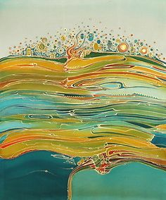 2003 Contemporary Silk Painting Abstract Landscape   eBay