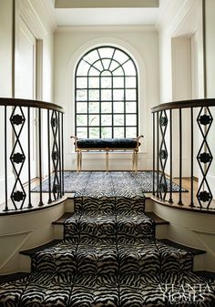Zebra Stair Runner - Transitional - entrance/foyer - Atlanta Homes & Lifestyles Home Interior, Interior And Exterior, Interior Design, Interior Ideas, Casas En Atlanta, Bench Designs, Atlanta Homes, Architecture, My Dream Home