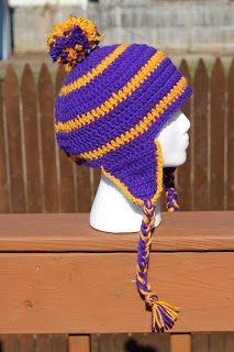 Projects Around the House: Crochet Men's Striped Earflap Hat Pattern