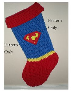 Pattern Only Superman Stocking Pattern Crochet by TheCreativeMandM