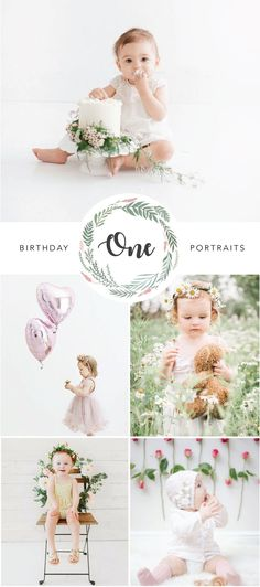 First Birthday Portrait Photography for Girls turning one! Best of clean, crisp white photos with lots of flowers, garlands and cuteness