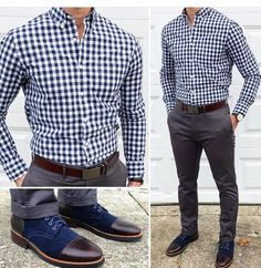 Men's Formal Style: Formal Outfit Ideas For Men - Men's Fashion Mode Masculine, Business Casual Men, Men Casual, Business Outfits, Casual Wear, Blue Checkered Shirt, Moda Formal, Formal Men Outfit, Mode Costume