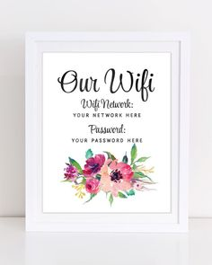 WifFi Printable Guest Room Wall Decor Wifi Password Print Internet Password Printable Peony Wall Art Custom Wifi Be Our Guest Sign Guest Bedroom Decor, Room Wall Decor, Guest Bedrooms, Room Art, Bedroom Ideas, Wifi Password Printable, Guest Room Essentials, Be Our Guest Sign, Coral Art