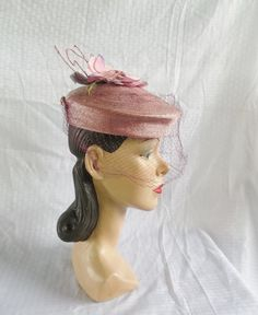40's 50's Vintage Plum Color Pill Box Hat with by MyVintageHatShop, $42.00