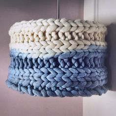 Hand knitted and dip dyed chunky knit lampshade. Love this denim blue colour.