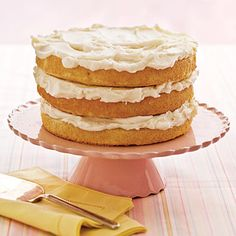 Luscious Lemon Cake | Create an impressive stack of zesty lemon layers that's perfect for any casual gathering. Or frost the entire cake for a more elegant presentation.