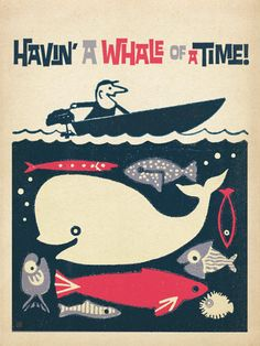 CC Having a Whale of a Time! - Inspired by an old matchbook cover, this whimsical design will bring a breezy, nautical feel to any room. You'll have a whale of a time decorating with this print!<br />