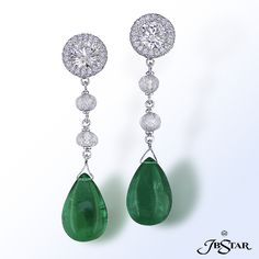 JB Star Platinum and Diamond Earrings with Briolette Emeralds