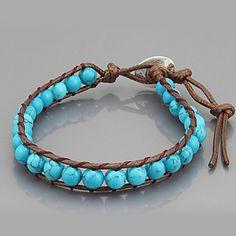 Vintage Style Vriendschap Weaving PU Leren wrap armband met Turkoois (CLJ-B-549) – EUR € 5.51