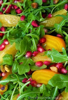 Orange, Pomegranate & Roasted Beet Salad - a fabulous, bright salad with a delicious citrus vinaigrette.  thecafesucrefarine.com