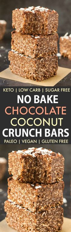 Homemade No Bake Keto Chocolate Coconut Crunch Bars (Paleo, Vegan, Sugar Free, Low Carb)- An easy recipe for copycat crunch bars loaded with coconut and chocolate-a ketogenic and sugar free makeover! The ultimate keto-friendly dessert and snack recipe ready in 5 minutes! #ketogenicdessert #ketodessert #lowcarb #sugarfree #paleo | Recipe on thebigmansworld.com