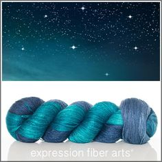 Expression Fiber Arts, Inc. - STARRY NIGHT YAK SILK LACE YARN - a magical mix of midnight blue and dark teal