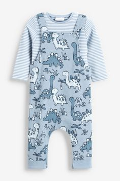 Buy Dinosaur Jersey Dungarees And Bodysuit Set (0mths-2yrs) from the Next UK online shop Newborn Boy Clothes, Cute Baby Clothes, Newborn Boys, Baby Boys, Big Baby, Babies Clothes, Baby Boy Outfits, Kids Outfits, Teddy Bear Clothes