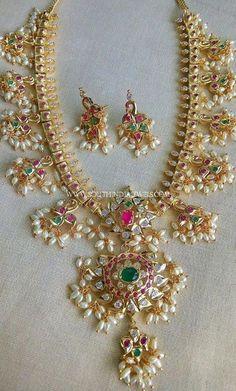 One Gram Gold Guttapusalu Haram and Earrings Designs, 1 Gram Guttapusalu Haram Designs. 1 Gram Gold Jewellery, Gold Jewellery Design, Indian Wedding Jewelry, Indian Jewelry, Indian Bridal, Bridal Jewellery, Guttapusalu Haram, Pearl Necklace Designs, Gold Jewelry Simple