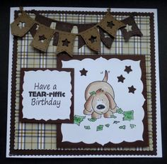 S155 Hand made Birthday Card using Elzybelle Dog Stamp