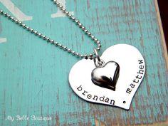 Hand-Stamped Valentine Necklace  www.MyBelleBoutique09.etsy.com