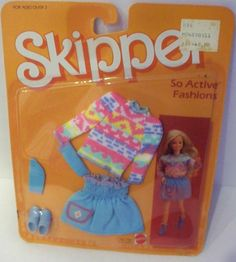 Pastel Aztec-print blouse, blue skirt, blue socks and sneakers. Fashion Dolls, Ankara Fashion, Tribal Fashion, African Fabric, African Prints, Right In The Childhood, 1980s Childhood, Barbie Doll Accessories, Barbie Skipper