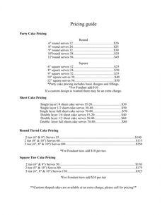 Cake Pricing