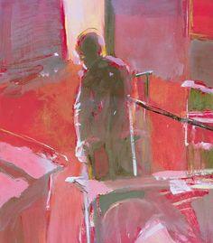 Edward Umiński - malarstwo | figuracja Postać w czerwoym wnętrzu gwasz | papier - szkic