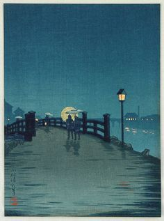 """Crossing a Country Bridge"" - By Kobayashi Kiyochika. """