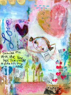 Love Carries me over the Treetops - mixed media art print by Mindy Lacefield