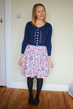 #MMM14 Day 7 Wearing 50's pattern floral dress and my navy Miette cardigan {Jennifer Lauren Vintage}