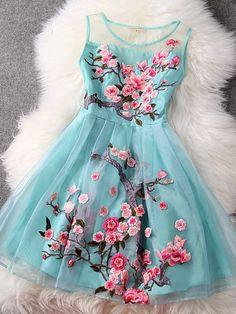 #60940 Silk embroidered dress