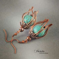 turquoise wire wrapped copper earrings.