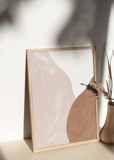 Pale Beige and Terracotta Figures Abstract Print, Abstract Wall Art Abstract Wall Art, Abstract Print, Art Minimaliste, Cuadros Diy, Minimalist Painting, Art Decor, Decoration, Beige Aesthetic, Minimalist Decor