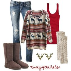 Hate the Uggs, but with a different pair of boots or a comfy pair of moccasins this would be an adorable Christmas morning outfit.