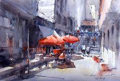 Direk Kingnok Watercolor artist Local market in Lushan, China. No.2 31 x 46 cm.