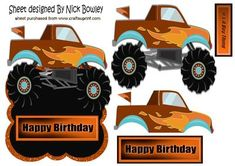 Brown orange monster truck with flames over the edge on Craftsuprint - Add To Basket!