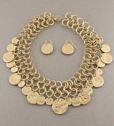 Circle Disks Necklace and Earrings Set Statement Chain Matte Gold Hammered
