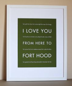 US Army Military Art, I Love You From Here To FORT HOOD, 8x10, Unframed on Etsy, $20.00
