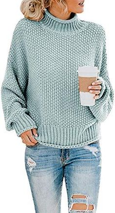 Amazing offer on Saodimallsu Womens Turtleneck Oversized Sweaters Batwing Long Sleeve Pullover Loose Chunky Knit Jumper online - Goodlucktou Winter Sweaters, Long Sweaters, Knit Sweaters, Pullover Sweaters, Vintage Sweaters, Holiday Sweaters, Oversized Pullover, Oversized Sweaters, Pullover Pullover