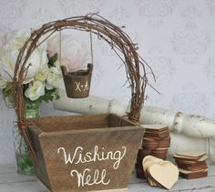 Wunschbrunnen Hochzeit Glückskarten Holz