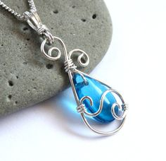 Blue Teardrop Pendant - Silver Swirl Wire Wrapped - Elven Jewelry - Silver and Capri Blue Glass