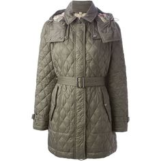 Burberry Brit Hooded Quilted Coat (3.705 BRL) via Polyvore featuring outerwear, coats, grey, burberry coat, hooded coats, hooded quilted coat, grey coat and burberry