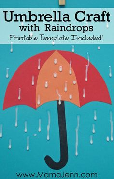 Umbrella Craft with Raindrops - Try this, except mix glue with blue food coloring and use an eye dropper and white construction paper for something different!