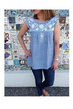 Authentic Mexican Apparel and products hand crafted by Mexican artisans. Mexican Top, Sleeveless Blouse, Tunic Tops, Denim, Casual, Beauty, Dresses, Women, Style