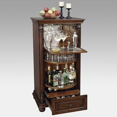 Our charming Armoires with exceptional skillfulness and culminating description. Discover the best bar armoire French Country. Howard Miller Cognac Wine & Bar Console - Home Bars USA - 1 Source: Corner Bar Cabinet, Wine Bar Cabinet, Wine Cabinets, Small Liquor Cabinet, Corner Curio, Bar Cabinet Furniture, Home Bar Furniture, Furniture Decor, Wine Furniture