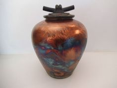 matt raku pottery | John Melkonian Signed Raku Medium Copper Luster/Matt Vase with Lid Add ...
