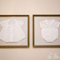 Frame your old baby clothes for nursery.