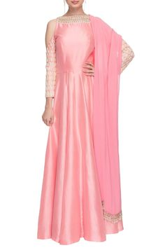 Shop Manish Malhotra - Light pink cold shoulder anarkali with dupatta Latest Collection Available at Aza Fashions
