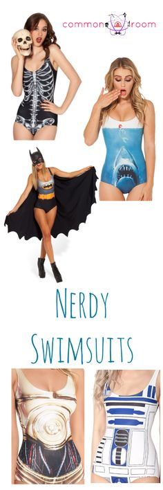 Nerdy Swimsuits Skeleton, Jaws, The Little Mermaid, Batman, Capes, Threepio, R2D2, R2, Artoo, C3P0, C3PO, Bathing Suits, One Piece Suit