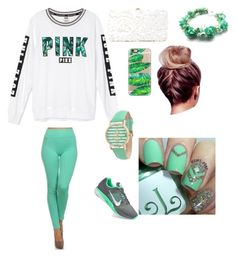Mint green PINK / By: Kelsey C. by kelseyclark70 on Polyvore featuring polyvore, fashion, style, Victoria's Secret, NIKE, Deux Lux, Geneva, Casetify and clothing