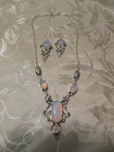 """Feiry Opalite 925 silver overlay necklace and earrings new with out tags unused and unworn item handmade necklace 16""""  and earrings are 2.2''"""